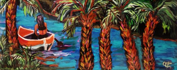 Painting of a girls in a red kayak paddling in crystal blue river