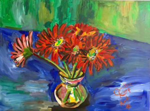 Expressionist Red Daisies