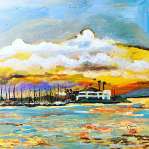 Expressionist painting of water and boats