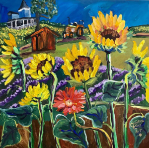Whimsical painting of sunflowers in a field by artist Caroline Karp