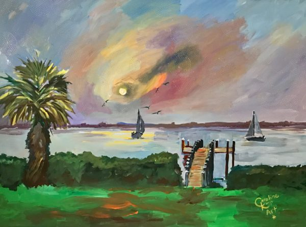 Painting of the bay with sailboats