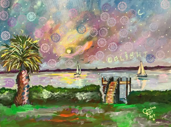 seascape painting that has sailboats and glows under black light