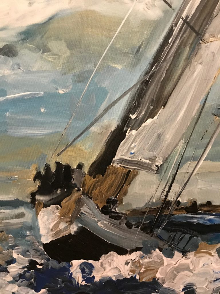 Detail of an expressionist painting of a sailboat