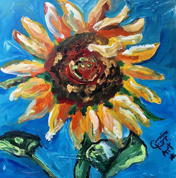 sunflower painting by artist Caroline Karp