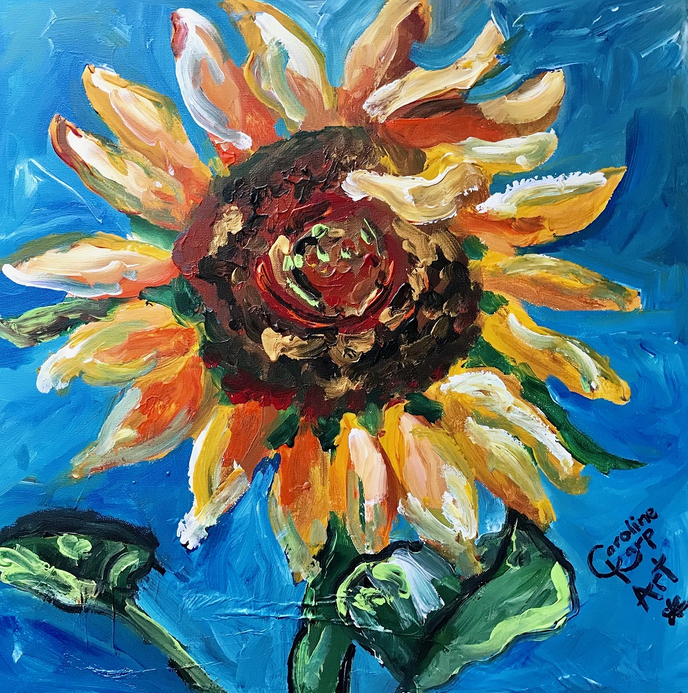 sunflower painting by artist Caroline Karp