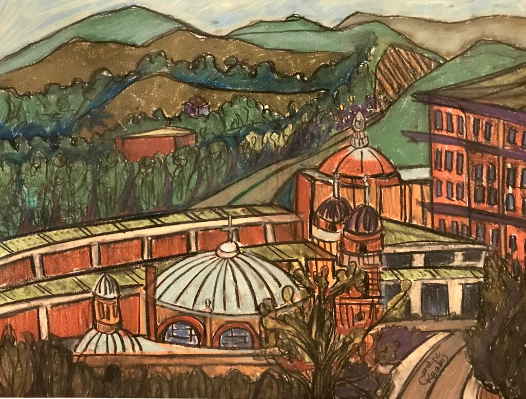 Caroline Karp Artist pastel drawing of a bird's eye view of Downtown Asheville, NC showing cathedrals and a pathway cutting through the mountains.
