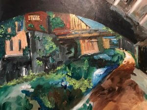 detail of an expressionist painting in Georgetown DC