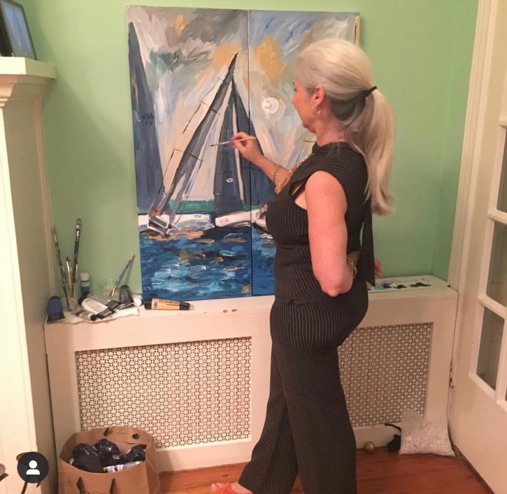 Caroline Karp Artist at her show called A Taste of Georgetown: Expressionist Paintings - live painting.