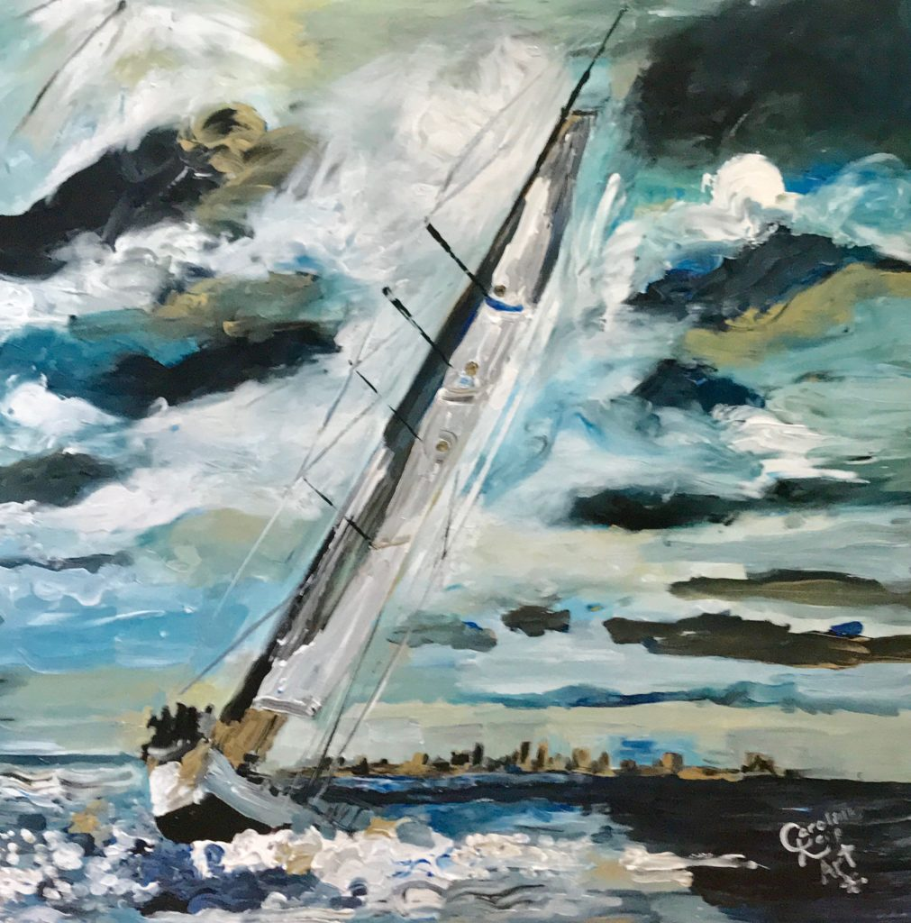 Expressionist painting of a sailboat