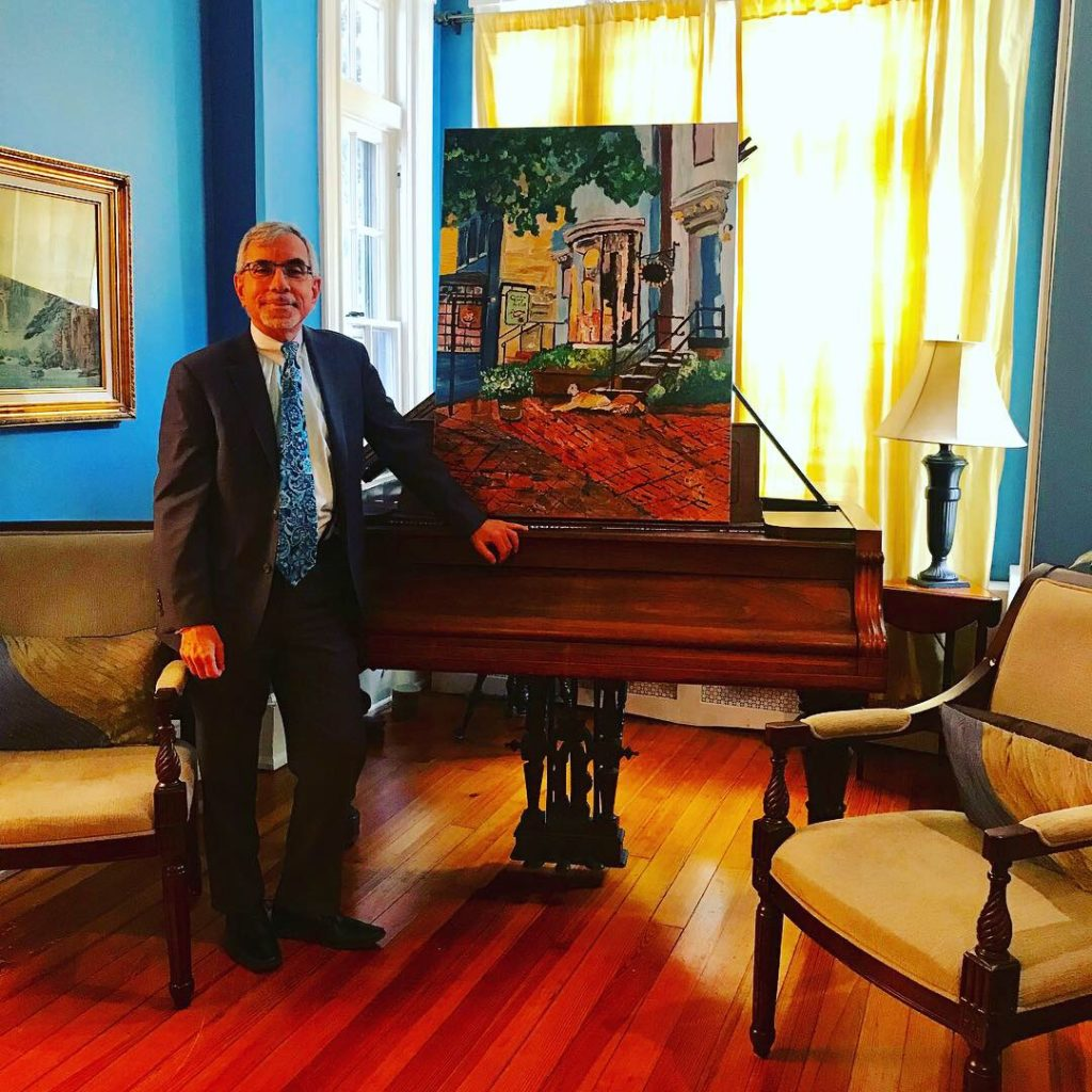 Professor Anthony  Arend host of Caroline Karp Artist's art show called A Taste of Georgetown: Expressionist Paintings