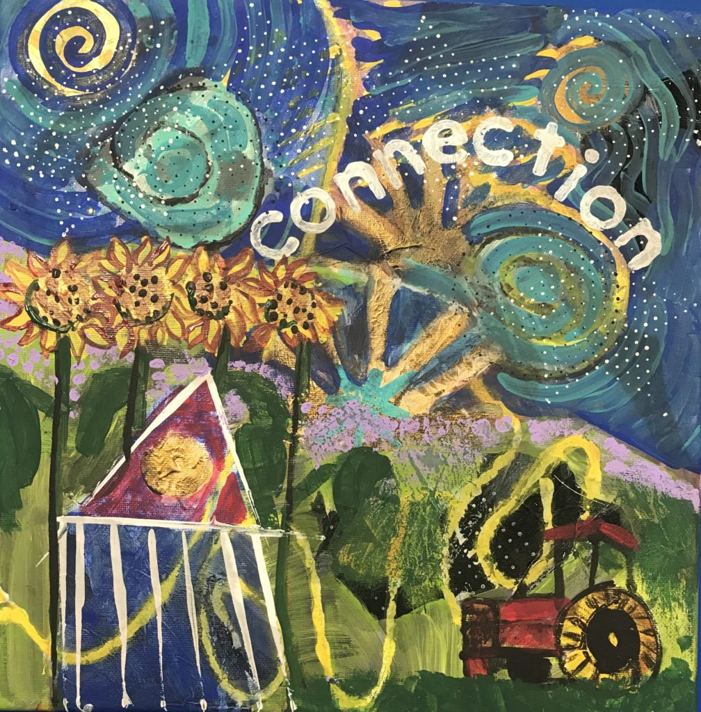 artist caroline karp's mixed media painting called connection