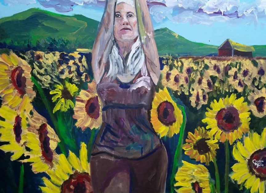 Live Action Expressionist Portrait: The Sunflower Warrior Girl...A self portrait of the artist