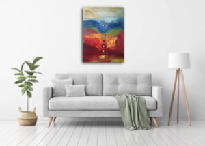 Beautiful room with gorgeous painting by artist caroline karp