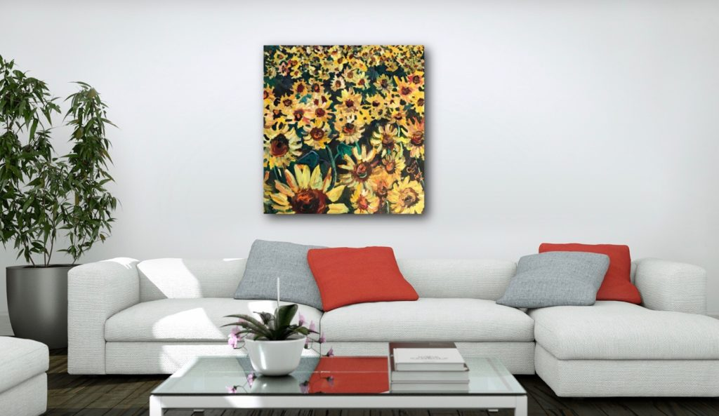 field of gold sunflower painting by artist caroline karp insitu