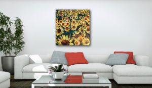 field of gold sunflower painting by artist caroline karp insitu