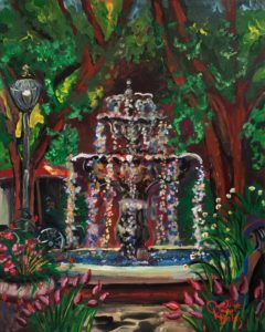 Mixed media painting of the Hyde Park fountain that contains a self portrait of artist Caroline Karp wearing her blue painting dress.