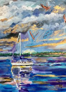 painting of a serene sailboat in the Harbor