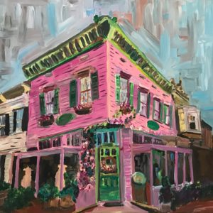 painting of a pink building in Georgetown