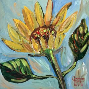 Expressionist painting of a sunflower with light blue background
