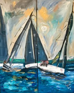 painting of sailboats racing