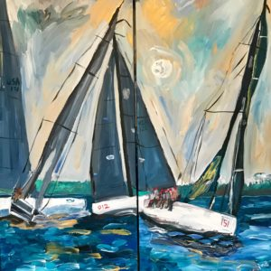 painting of sailboats racing