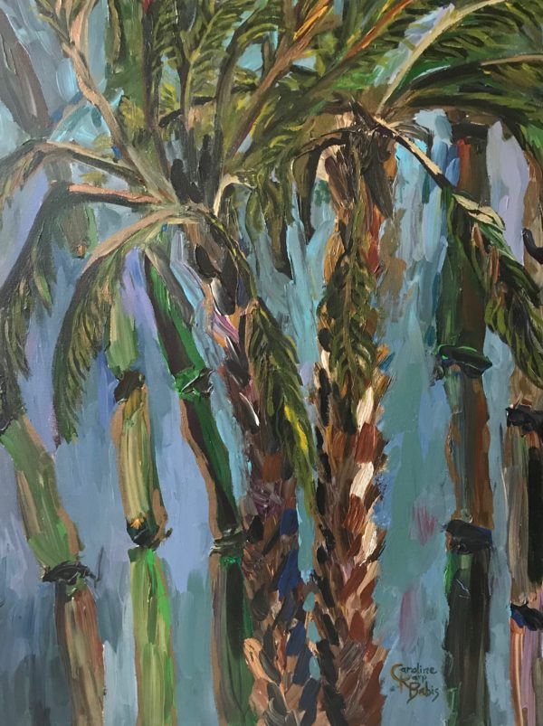 mood painting of palm tree and bamboo trees