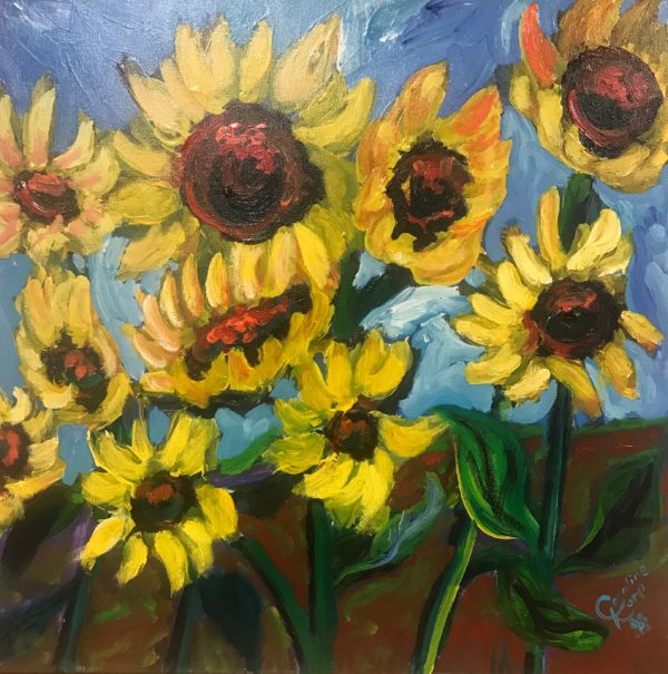 Painting of a field of sunflowers