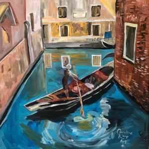 painting of a woman in Venice paddling a gondola