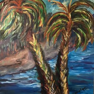 Painting of 2 palm trees by the coast