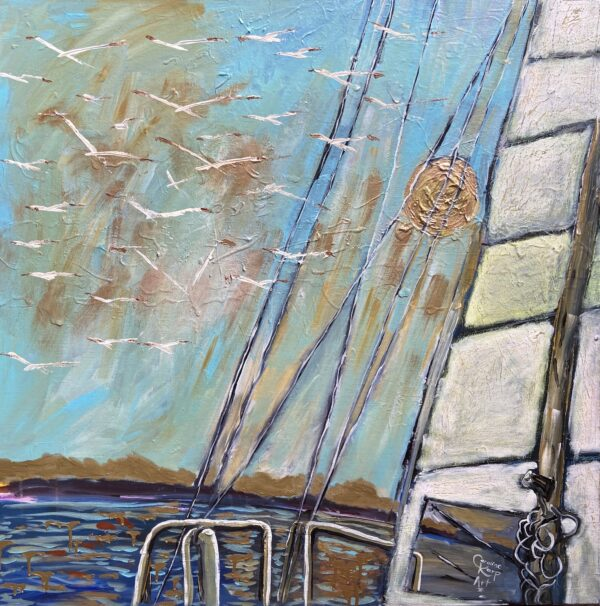 painting of a sailboat with a clear blue sky and seagulls