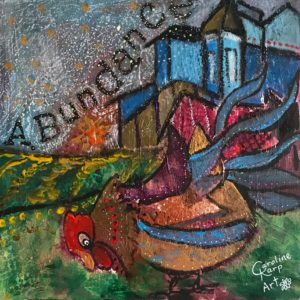 painting of a rooster with the word abundance