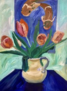 oil paiinting of tulips and Koi fish