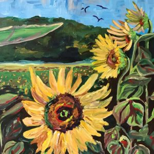 Painting of a sunflower field in North Carolina