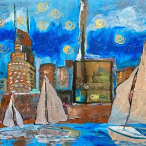 painting of 3 sailboats with skyline