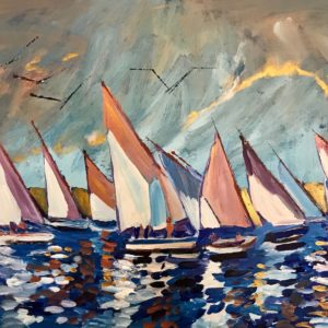 Painting of sailboats on a cloudy day at daybreak