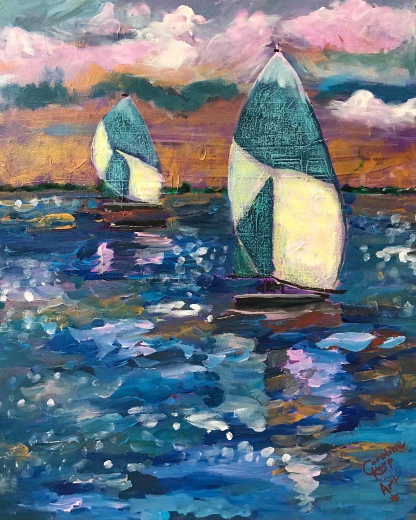 Mixed media painting of sailboats
