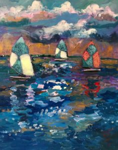 mixed media painting of 3 sailboats