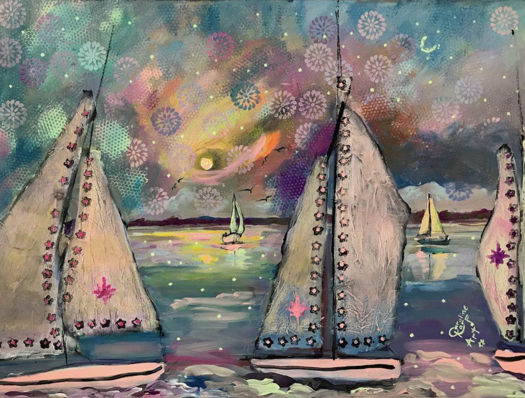 mixed media whimsical sailboat painting