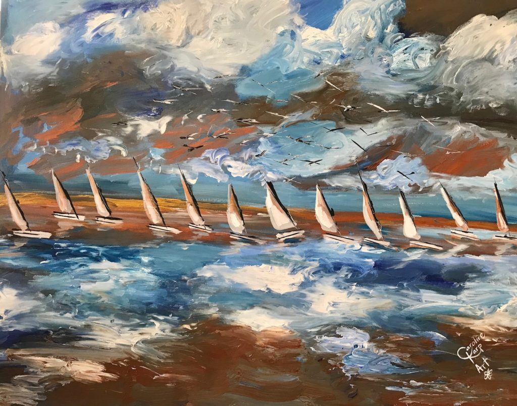 painting of many sailboats on a tumultuous day