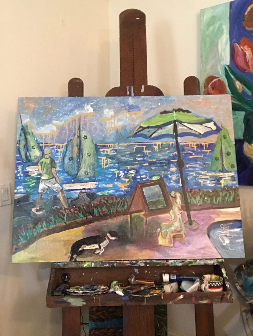 painting in progress showing the ocean, sailboats and people