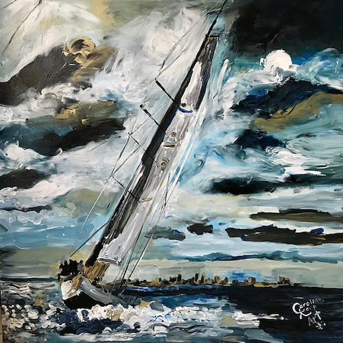 painting of a sailboat on the rough sea
