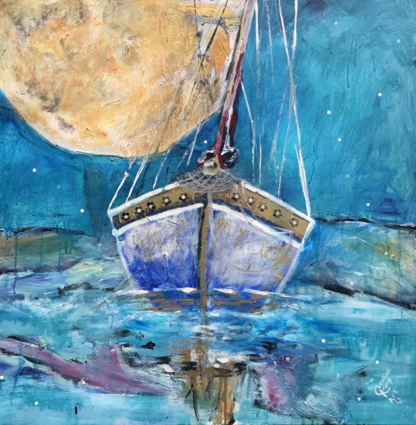 Painting of a sailboat and moon