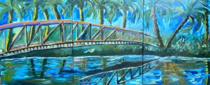 painting of a bridge over water