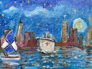 New York skyline and harbor