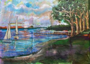 coastal painting with 2 sailboats, trees and a dock