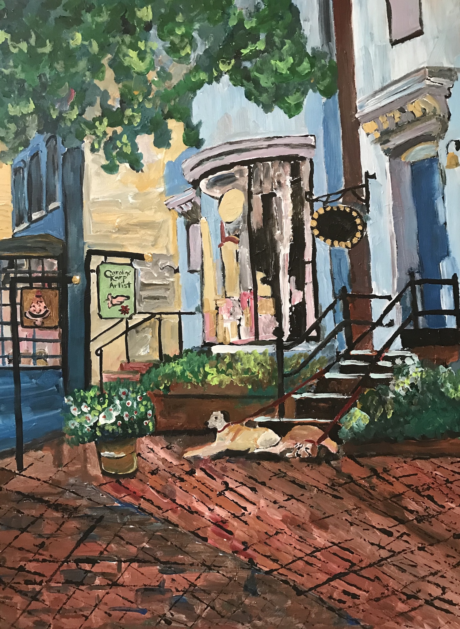 painting of two dogs sitting outside a pastry shop