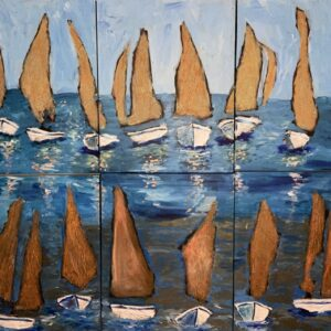 13 sailboats out at sea
