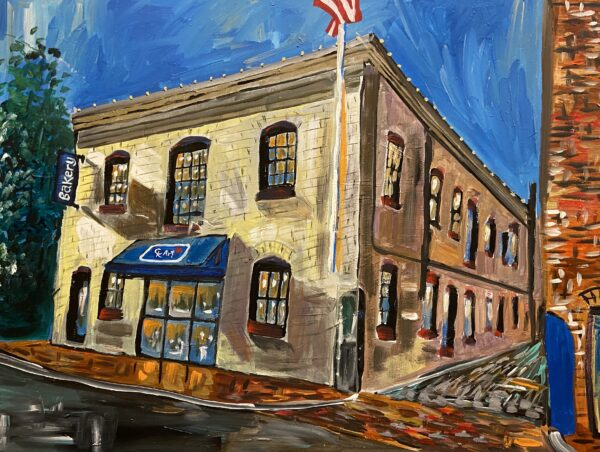 painting of the Dog Tag Bakery in DC