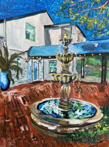 painting of a colorful fountain